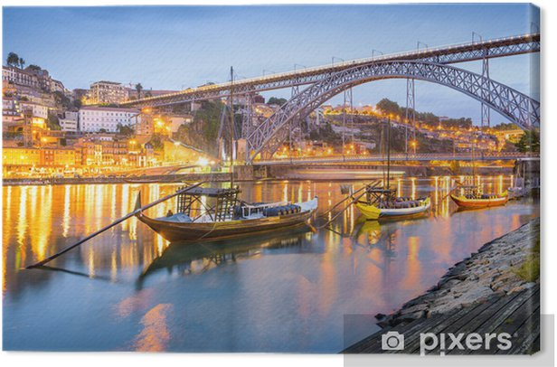 Porto, Portugal Town Skyline on the Douro River Canvas Print - Themes