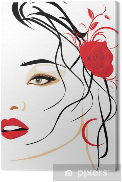 Portrait of beautiful woman with red rose in hair Canvas Print - Themes