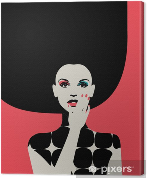 Portrait of fashionable woman with big hairdo in bright colors on pink background. Retro pop art style. Eps10 vector Canvas Print - Lifestyle