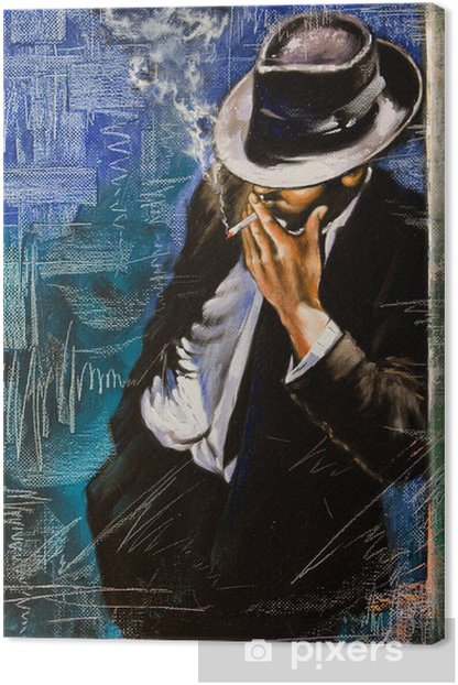 Portrait of the man with a cigarette Canvas Print - Styles
