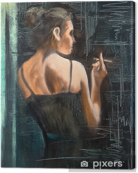 Portrait of the woman with a cigarette Canvas Print - Themes