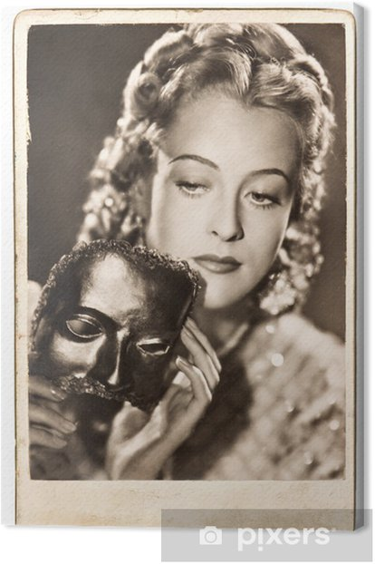 portrait of young woman with a carnival mask Canvas Print - Themes