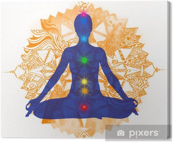 Posizione del Loto e chakra colorati Canvas Print - Signs and Symbols