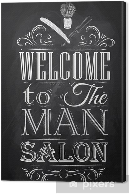 Poster Barbershop welcome to the man salon in a retro style and Canvas Print -