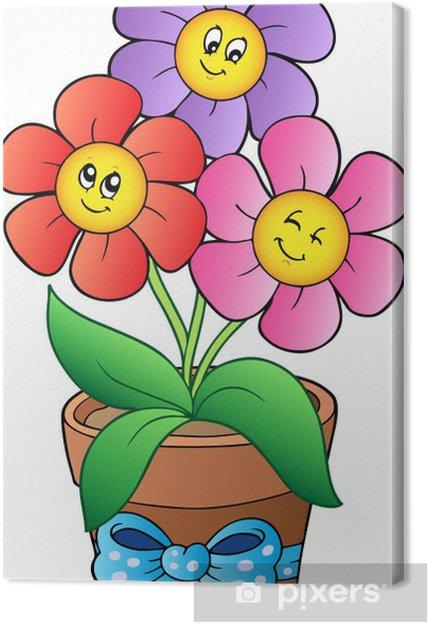 Pot with three cartoon flowers Canvas Print