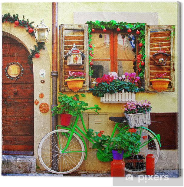 pretty streets of small italian villages Canvas Print - Themes