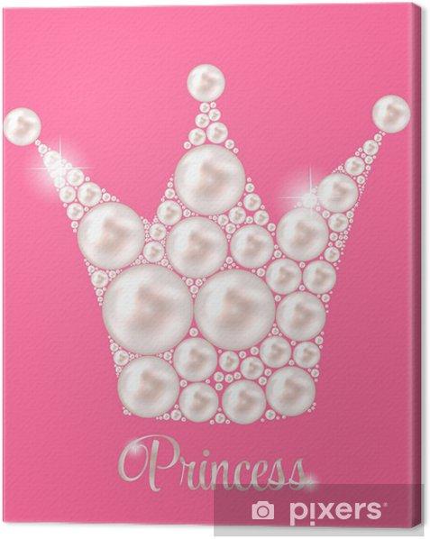 Princess Crown Pearl Background Vector Illustration. Canvas Print - Destinations
