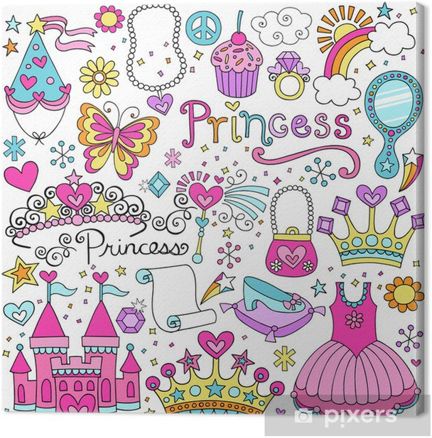 Princess Fairy tale Tiara Notebook Doodles Vector Set Canvas Print -
