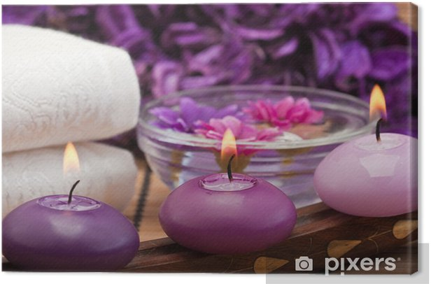 purple candles and flowers in spa setting (1) Canvas Print - Destinations