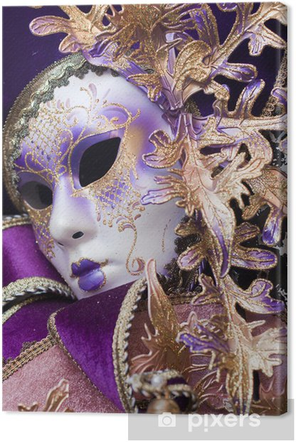 purple decorative venetian mask Canvas Print - Art and Creation