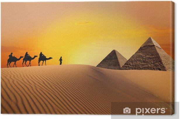 Pyramid, camel and sunset Canvas Print - Desert