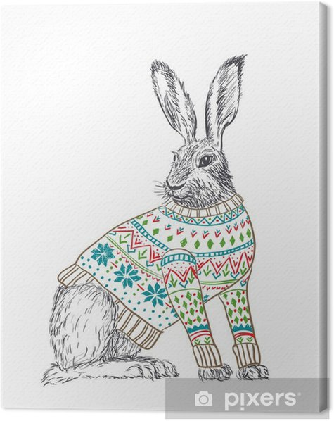 Rabbit in sweater Canvas Print - Rabbits