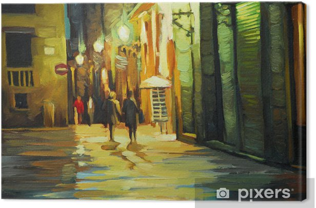 rain in gothic quarter of barcelona, painting by oil, illustrati Canvas Print - Themes