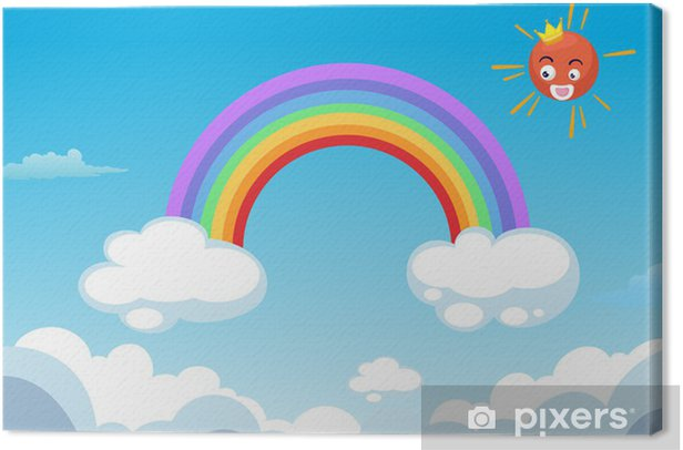 rainbow and sun in clouds vector Canvas Print - Destinations