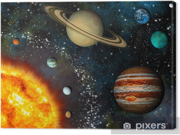 Realistic Solar System display contains the Sun and nine planets Canvas Print - iStaging