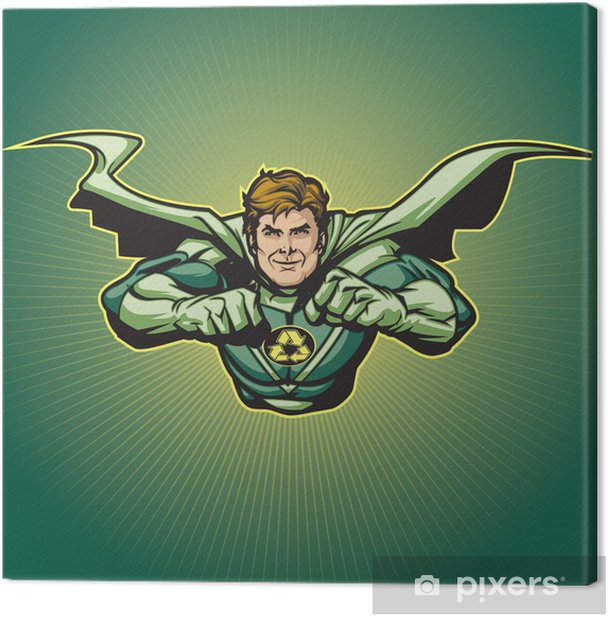 Recycle Hero with Cape 5 Canvas Print - Themes