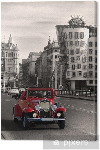 Red beautiful vintage cars in Prague Canvas Print - Prague