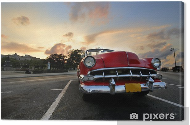 Red car in Havana sunset Canvas Print - Themes