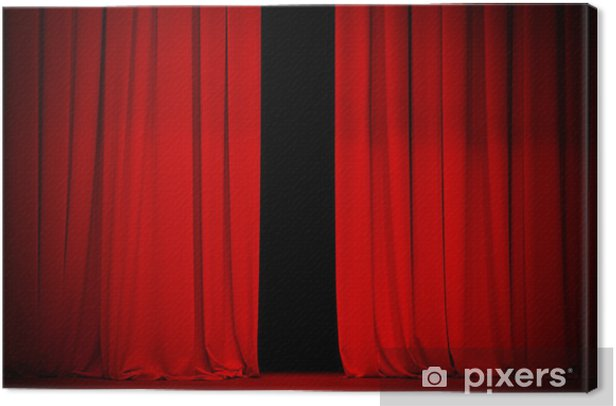 red curtain on theater or cinema stage slightly open Canvas Print - Backgrounds
