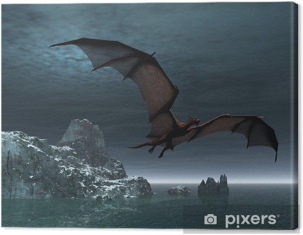 Red Dragon at Night Canvas Print - Themes