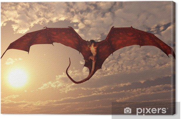 Red Dragon Attacking from a Sunset Sky Canvas Print - Themes
