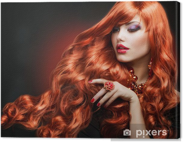 Red Hair. Fashion Girl Portrait. long Curly Hair Canvas Print - Fashion