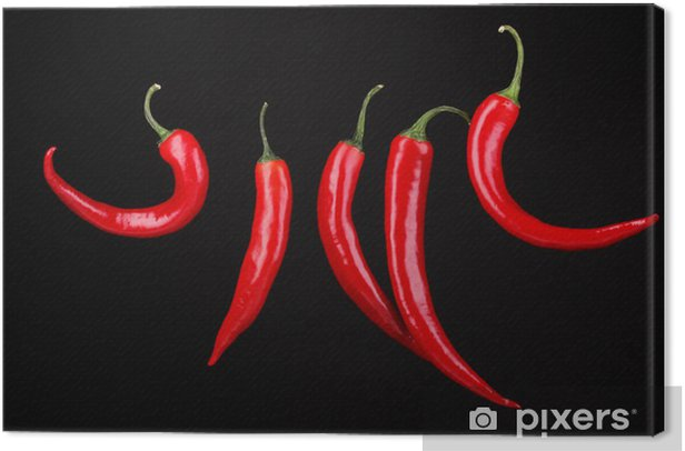 Red hot chili peppers isolated on black Canvas Print -