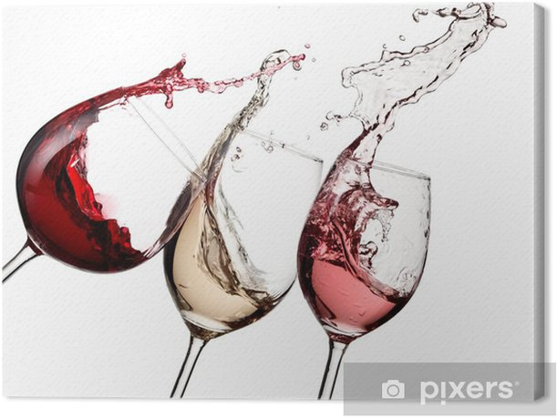 Red, rose and white wine up Canvas Print - Wall decals