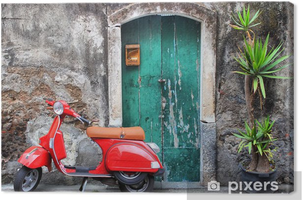 Red scooter Canvas Print - iStaging