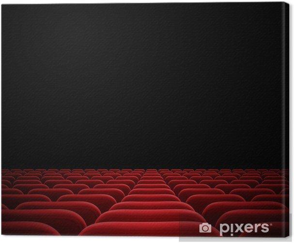 red seats in dark cinema theater Canvas Print - Entertainment