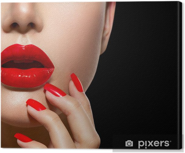 Red Sexy Lips and Nails closeup. Manicure and Makeup Canvas Print - Themes