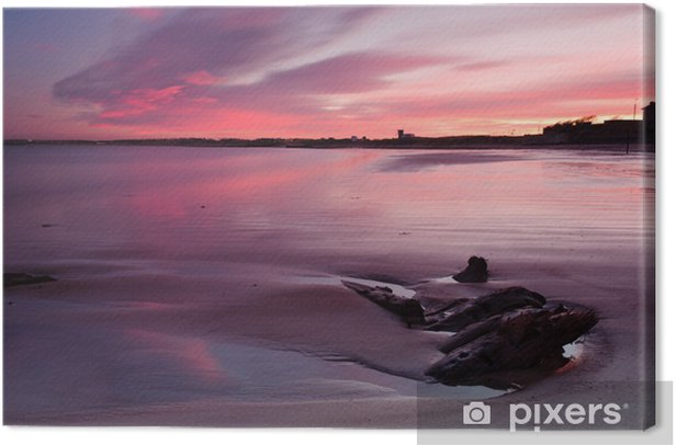 Red sunset at Blyth beach Canvas Print - Themes