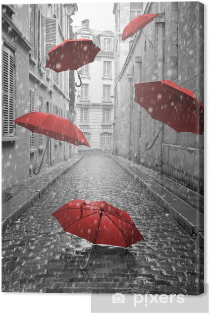 Red umbrellas flying on the street. Conceptual image Canvas Print -