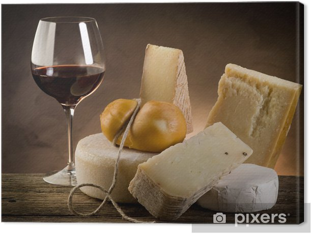 red wine and cheese Canvas Print - Cheeses