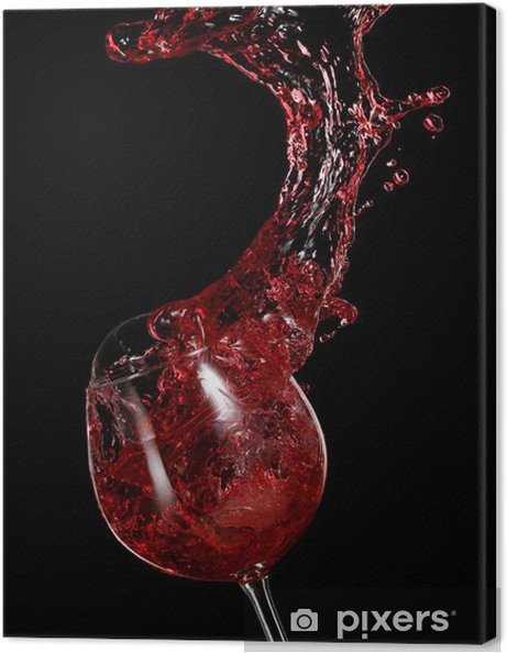 Red wine up with drops Canvas Print - Alcohol