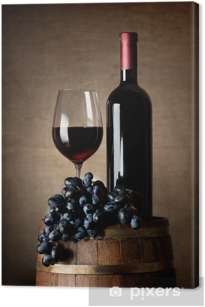 Red wine with barrel and grapes Canvas Print - Wine