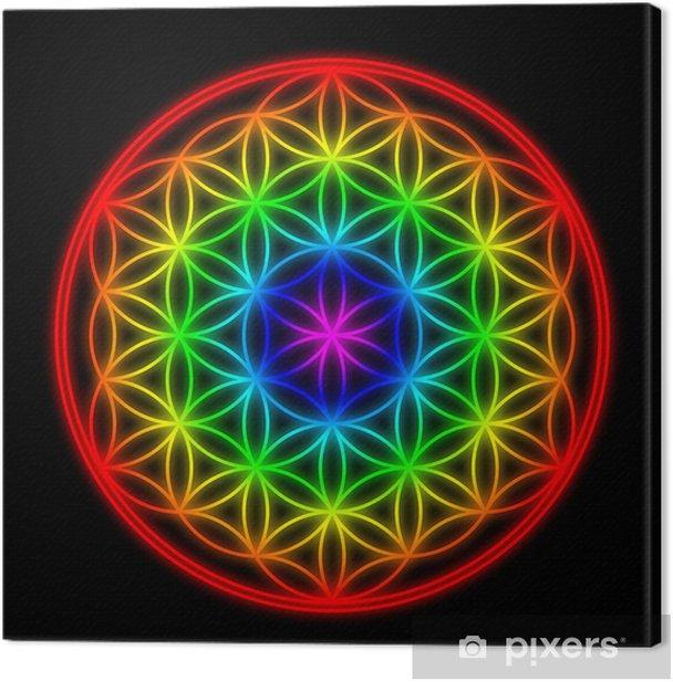 Regenbogen Schöpfungsmuster - Blume des Lebens Canvas Print - iStaging