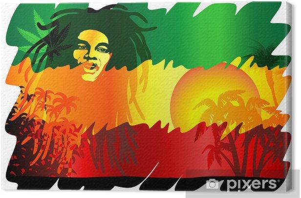 Reggae Singer Poster-Cantante Reggae Sfondo Esotico-Vector Canvas Print - Signs and Symbols