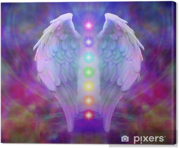 Reiki Angel Wings and Seven Chakras Canvas Print - iStaging