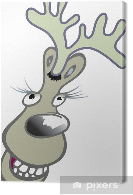Weihnachtsbilder Comic.Reindeer Head Comic Vector Cartoon Canvas Print