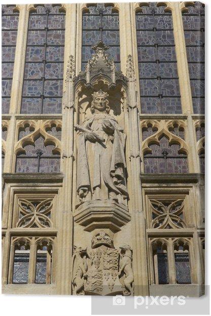 Religious Statue. West Entrance to Bath Abbey Canvas Print - Public Buildings
