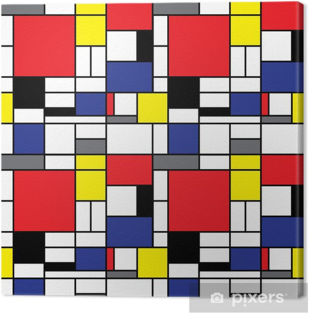 Repeating Mondrian Background Canvas Print - Styles