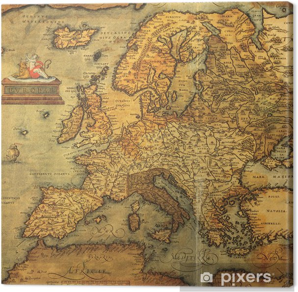 Reproduction Of 16th Century Map Of Europe Canvas Print Pixers