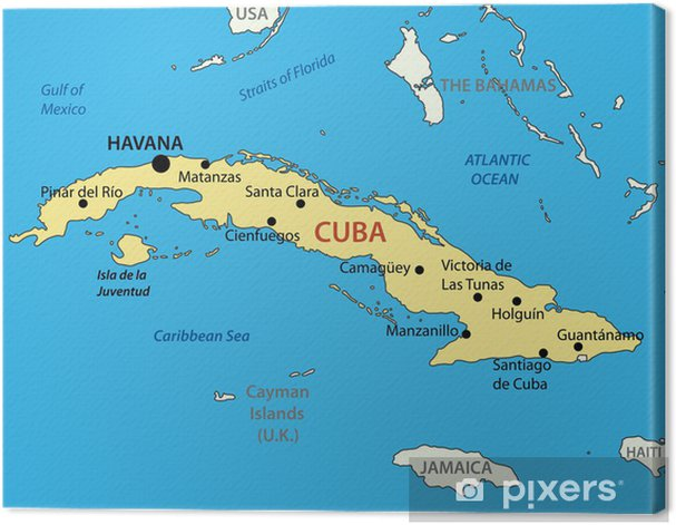 picture about Printable Map of Cuba known as Republic of Cuba - vector map Canvas Print