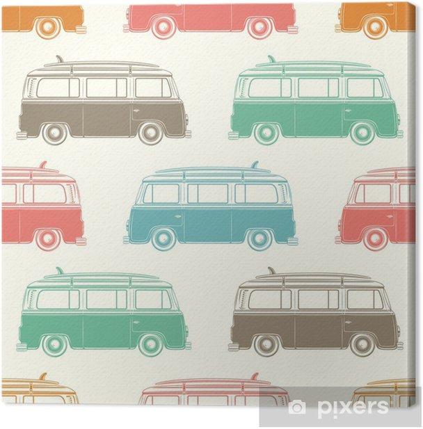 Retro camper van with surfing board. Seamless pattern. Canvas Print - Kids room