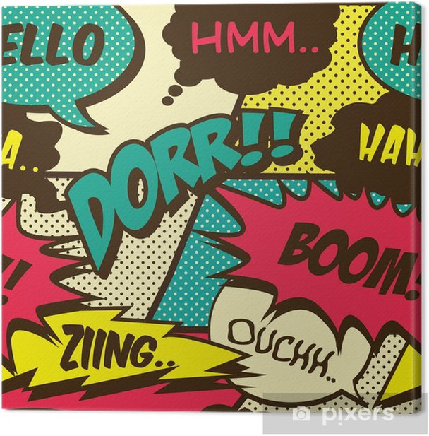 Retro comic shout seamless pattern Canvas Print - Hobbies and Leisure