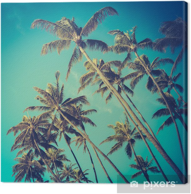 Retro Diagonal Palm Trees In Hawaii Canvas Print - Themes