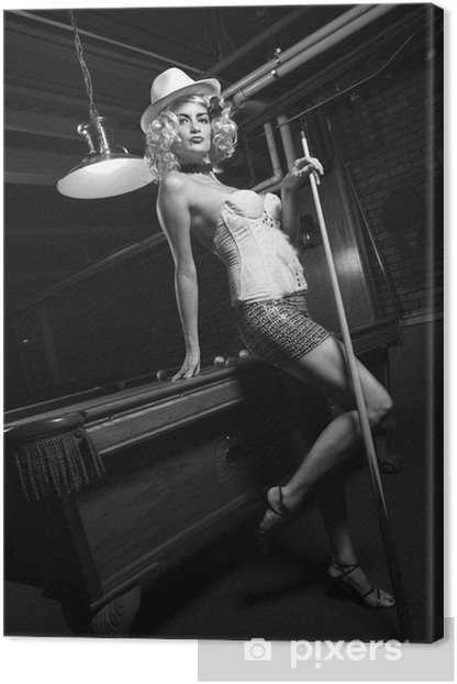 retro female standing in front of pool table. Canvas Print - Entertainment