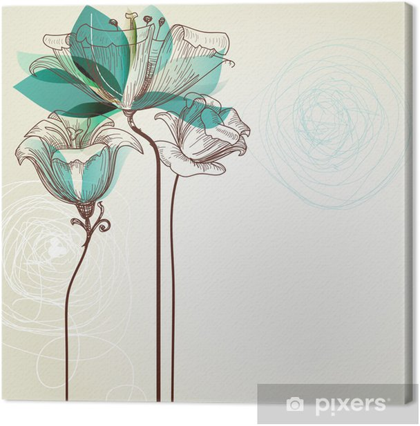 Retro floral background Canvas Print - Styles