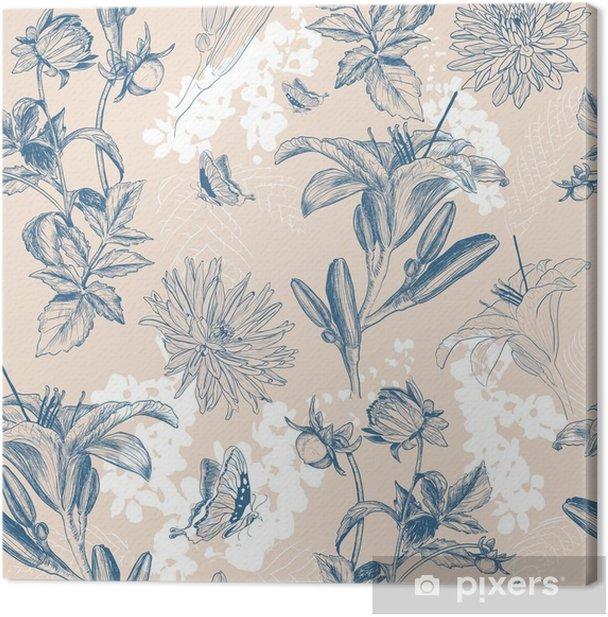 retro flower vector illustration Canvas Print - Plants and Flowers